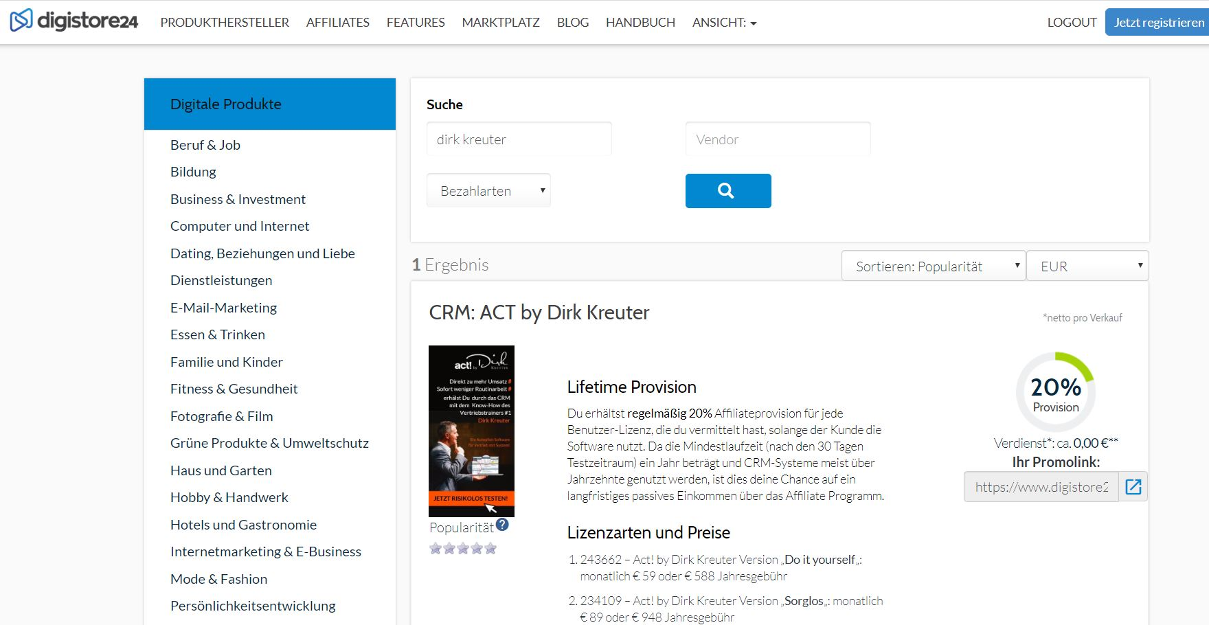 Dirk Kreuter Affiliate Digistore24
